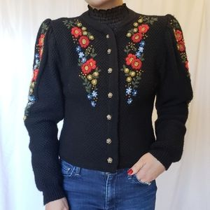 Vintage Wool Floral Embroidered Cardigan Anthro S